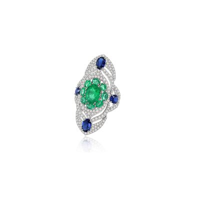 Sutra Emerald & Diamond Ring