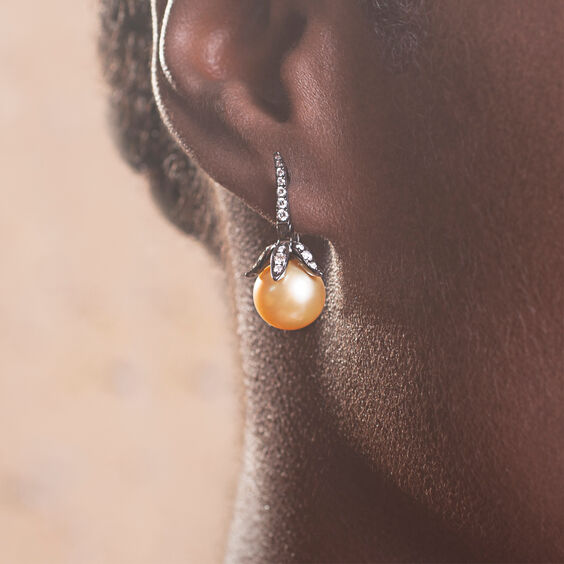 18ct White Gold South Sea Golden Pearl Small Earrings | Annoushka jewelley