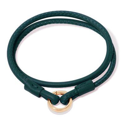 14ct Gold Lovelink 35cms Green Leather Bracelet