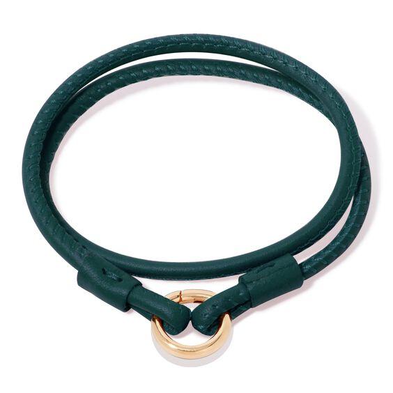14ct Gold Lovelink 35cms Green Leather Bracelet | Annoushka jewelley
