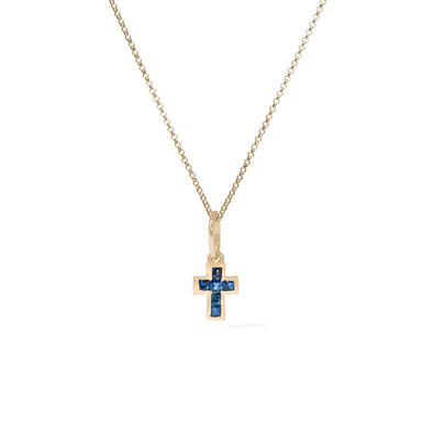 Tokens 14ct Gold Sapphire Cross Pendant