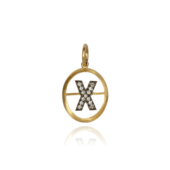 18ct Gold Diamond Initial X Pendant | Annoushka jewelley