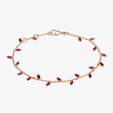 18ct Gold Ruby Vine Leaf Bracelet