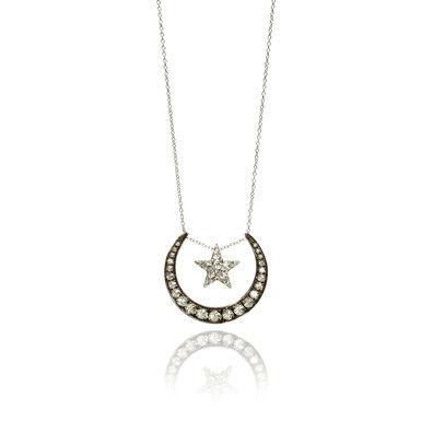 Love Diamonds 18ct White Gold Diamond Lunar Necklace