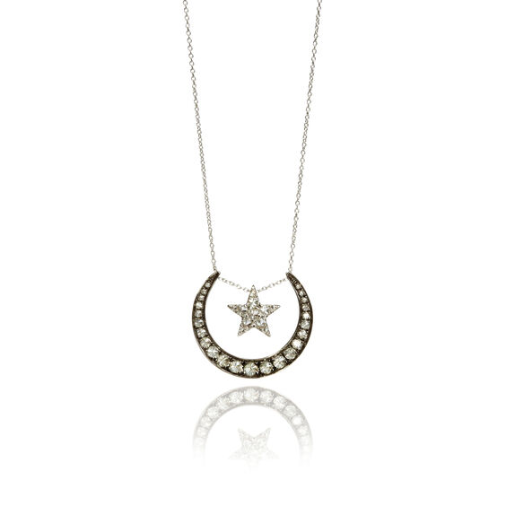 Love Diamonds 18ct White Gold Diamond Lunar Necklace | Annoushka jewelley