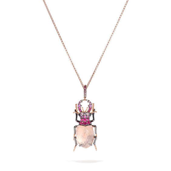 Mythology 18ct Rose Gold Rose Quartz Beetle Charm