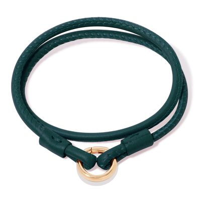 14ct Gold Lovelink 41cms Green Leather Bracelet