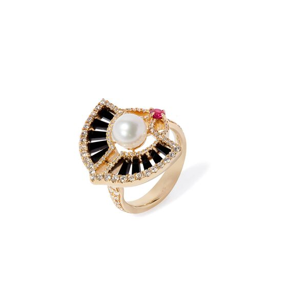 Unique 18ct Gold Pearl Diamond Ring | Annoushka jewelley
