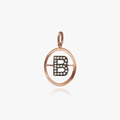 18ct Rose Gold Initial B Pendant