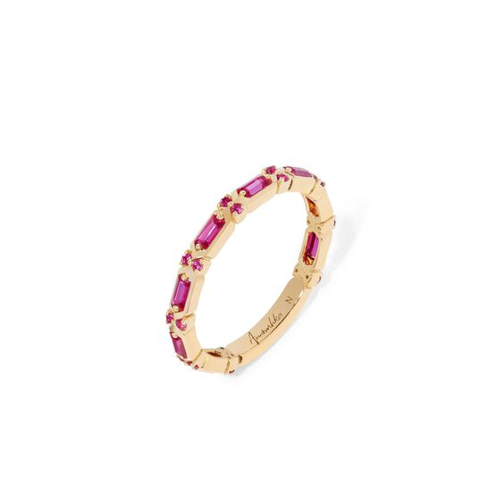 18ct Gold Pink Sapphire Baguette Ring | Annoushka jewelley