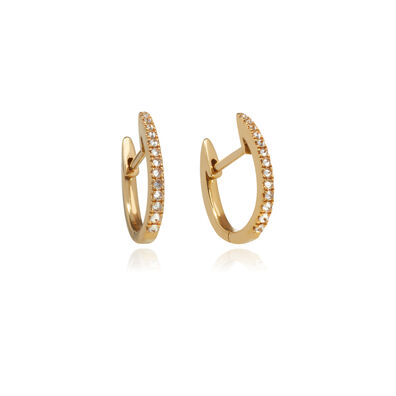 Eclipse 18ct Gold Brown Diamond Fine Hoop Earrings