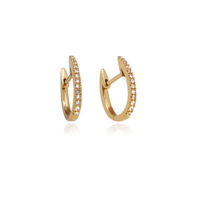 Eclipse 18ct Gold Brown Diamond Fine Hoop Earrings