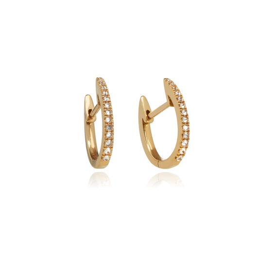 Eclipse 18ct Gold Brown Diamond Fine Hoop Earrings | Annoushka jewelley