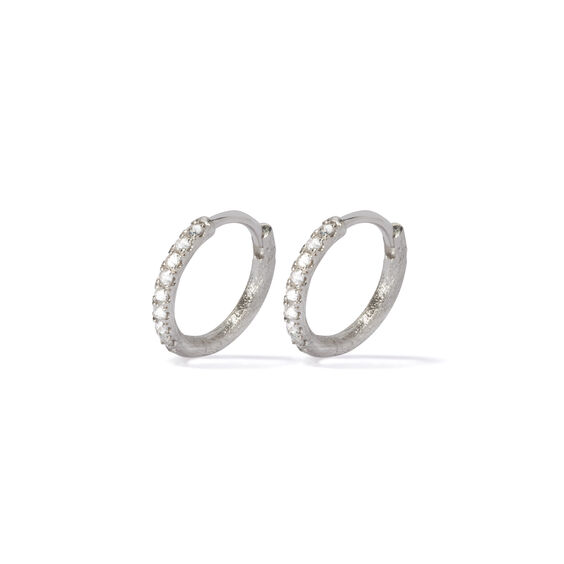Dusty Diamonds 18ct White Gold Diamond 12mm Hoops | Annoushka jewelley