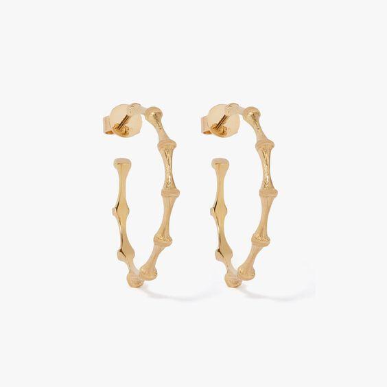 Bamboo 18ct Gold Hoop Earrings