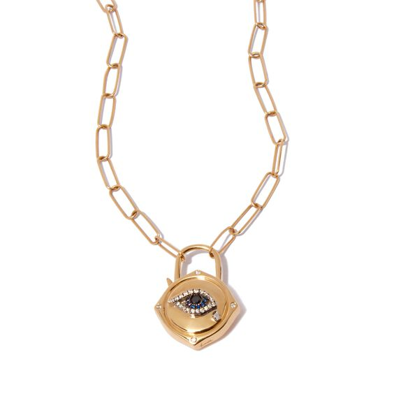 Lovelock 14ct Gold Mini Cable Chain Evil Eye Charm Necklace | Annoushka jewelley