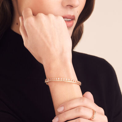 Crown 18ct Rose Gold Diamond Bangle