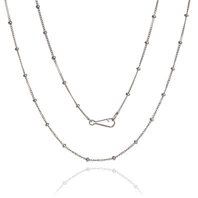 14ct White Gold Saturn Long Chain