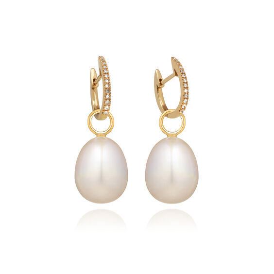 18ct Gold Brown Diamond Baroque Pearl Earrings