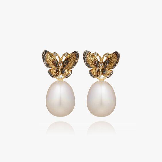 18ct Gold Pearl Butterfly Earrings
