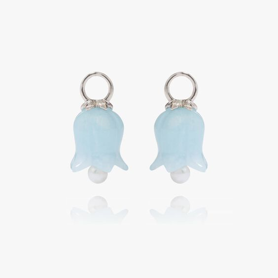 18ct White Gold Aquamarine Tulip Earring Drops | Annoushka jewelley