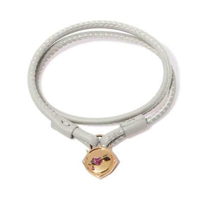 Lovelock 18ct Gold 41cms Cream Leather Heart & Arrow Charm Bracelet