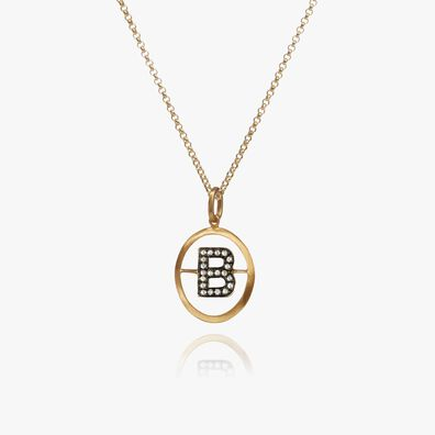18kt Gold Diamond Initial B Necklace
