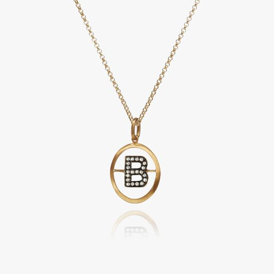 18ct Gold Diamond Initial B Necklace | Annoushka jewelley