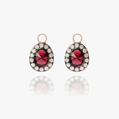 Dusty Diamonds 18ct Rose Gold Rhodolite Garnet Earring Drops