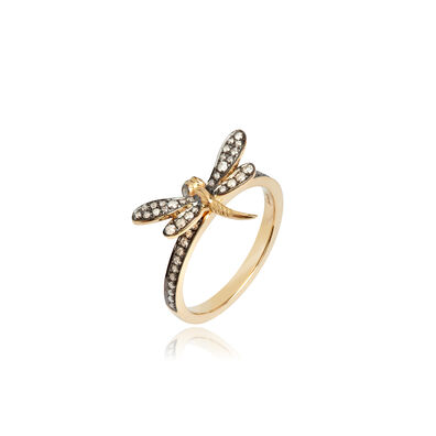 Love Diamonds 18ct Gold Diamond Dragonfly Ring