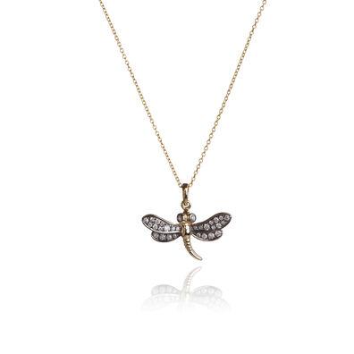 Love Diamonds 18ct Gold Diamond Dragonfly Necklace