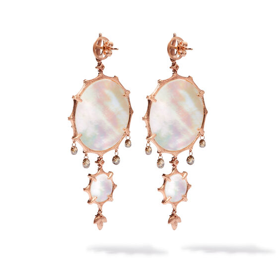 Dream Catcher 18ct Rose Gold Pearl Large Earrings | Annoushka jewelley