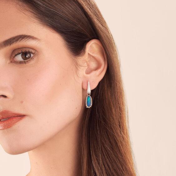 Unique 18ct White Gold Opal Brown Diamond Earring Drops