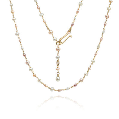 18ct Gold Seed Pearl Short Chain