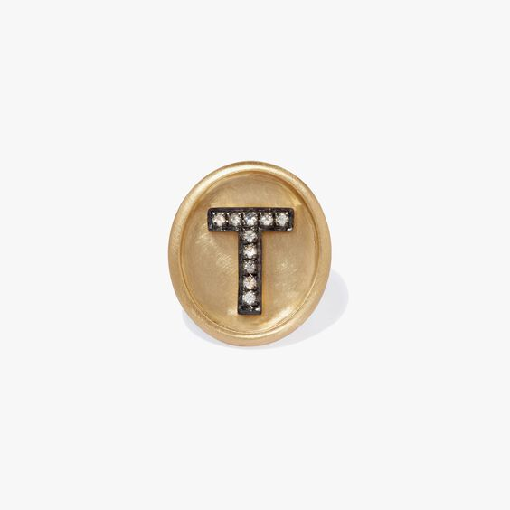 18ct Gold Diamond Initial T Face | Annoushka jewelley
