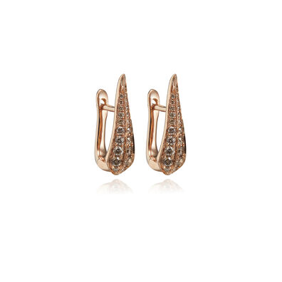 18ct Rose Gold Brown Diamond Hoop Earrings