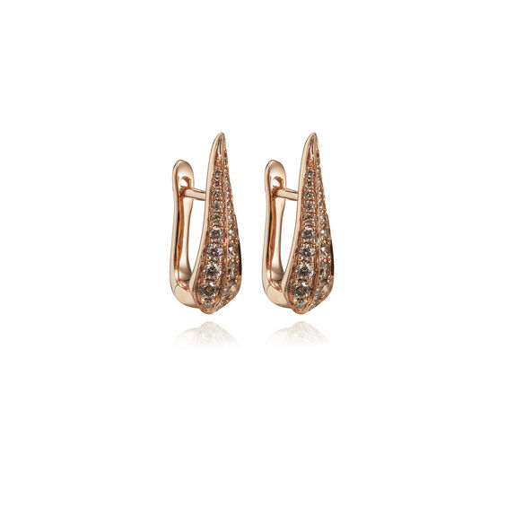 18ct Rose Gold Brown Diamond Hoop Earrings | Annoushka jewelley