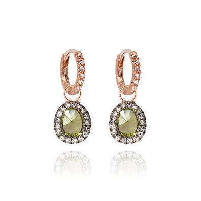 Dusty Diamonds 18ct Rose Gold Small Peridot Earrings