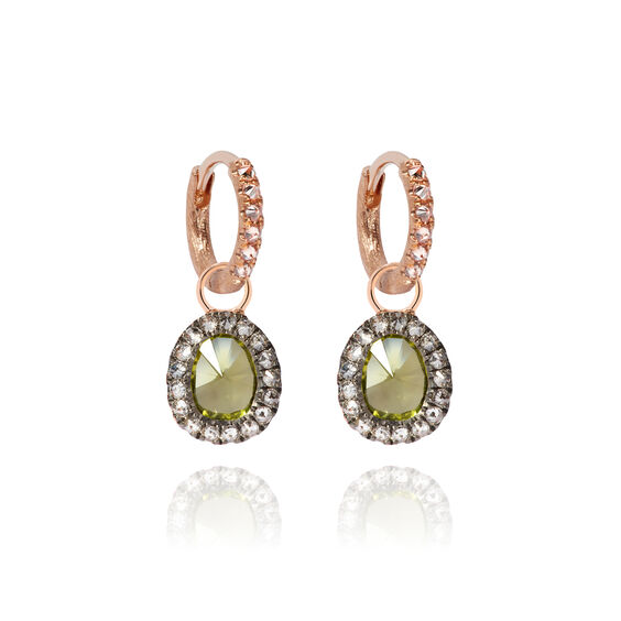 Dusty Diamonds 18ct Rose Gold Small Peridot Earrings | Annoushka jewelley