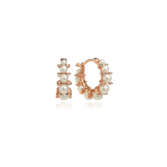 Diamonds & Pearls 18ct Rose Gold Hoops | Annoushka jewelley