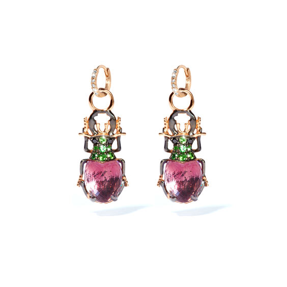 Mythology 18ct Rose Gold Amethyst Beetle Earring Drops | Annoushka jewelley