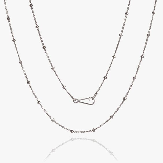 14ct White Gold Saturn Long Chain | Annoushka jewelley