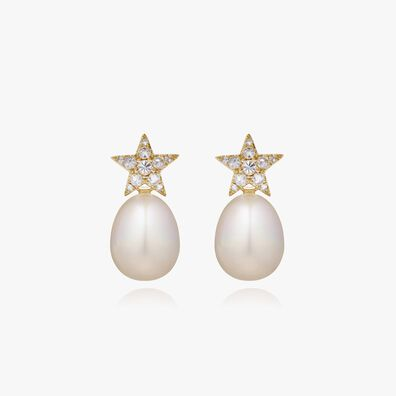 18ct Gold Diamond Pearl Star Earrings