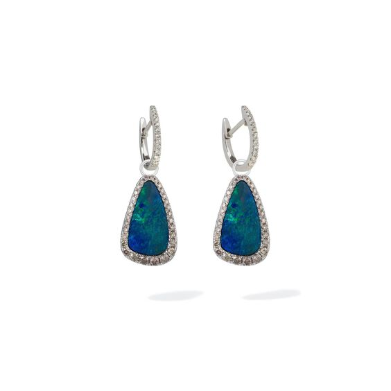 Unique 18ct White Gold Opal Earrings | Annoushka jewelley