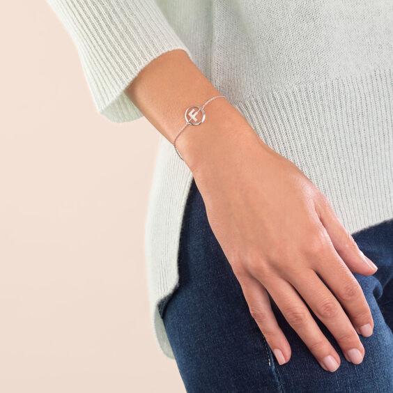 18ct White Gold Diamond Initial F Bracelet
