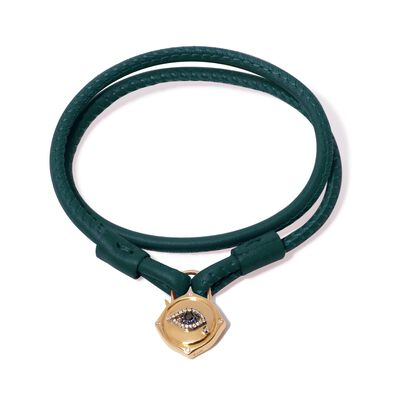 Lovelock 18ct Gold 35cms Green Leather Evil Eye Charm Bracelet