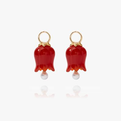 18ct Gold Red Agate Pearl Tulip Earring Drops