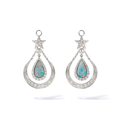 Unique 18ct White Gold Opal Doublet Earring Drops
