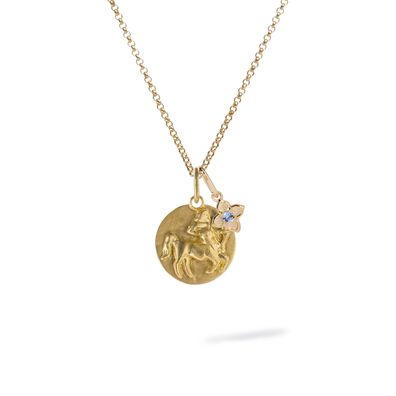 Gold Sagittarius & Tanzanite December Birthstone Necklace