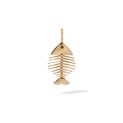 18ct Gold Diamond Fish Bones Charm